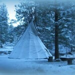 My Lodge. Tipi in winter snow.