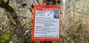 sign posted in area of mountain lion activity warning hikers.