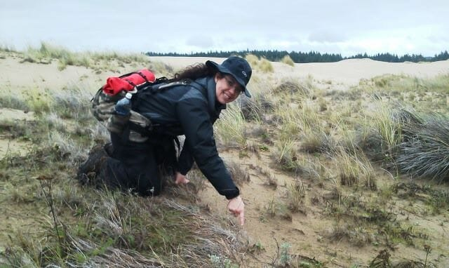 Oregon Survival School volunteer staff member,Roberta, tracking animals on the Oregon coast.